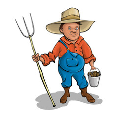 Farmer with pitchforks. A cartoon character. Vector.