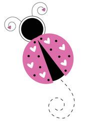 Cute Pink Love Heart Ladybug