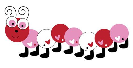 Love Heart Valentines Caterpillar