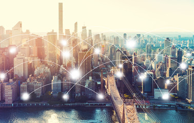 Network and connection technology concept with the New York City skyline near Midtown