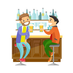 Two young happy caucasian white men drinking beer at the bar counter and clinking glasses. Cheerful male friends relaxing with beer in the pub. Vector cartoon illustration isolated on white background