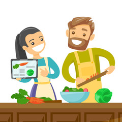 Caucasian white couple following a vegetable meal recipe on tablet and cooking meal together. Couple looking for a recipe in a digital tablet. Vector cartoon illustration isolated on white background.