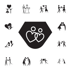 loving couple in the shape of hearts icon. Set of Valentine's Day elements icon. Photo camera quality graphic design collection icons for websites, web design, mobile app