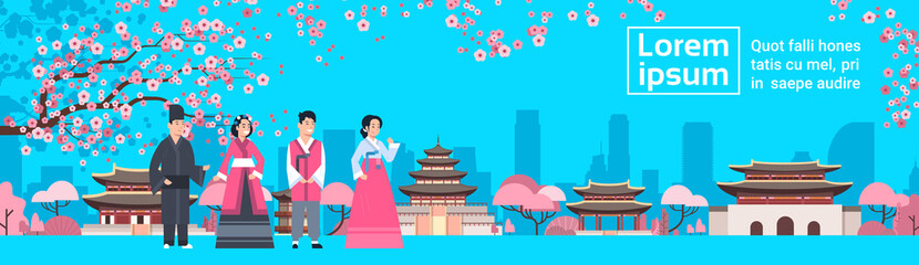 Korea People In Traditional Costumes Over Palace Landscape Sakura Trees South Korean Famous Landmark View Flat Vector Illustration