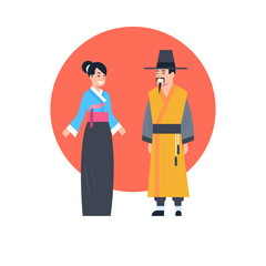 Asian Couple Wearing Ancient Costume Isolated Asian Dress Collection Korea Traditional Clothes Concept Flat Vector Illustration