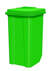 Trash can isolated - green