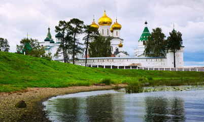 Male Ipatievsky Monastery at cloudy day in Kostroma, Russia
