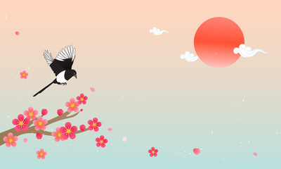 Wall Mural - Seollal (Korean lunar new year ) vector illustration. Magpie with plum blossom branches on beautiful gradient background