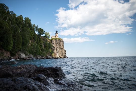 Split Rock Lighthouse from Lake Superior Shore