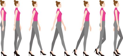 ハイヒールを履いた女性 足を水平に下す歩き方