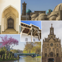 Collage of varied architecture of Uzbekistan in different cities