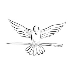 Soaring Dove Clutching Staff Front Drawing