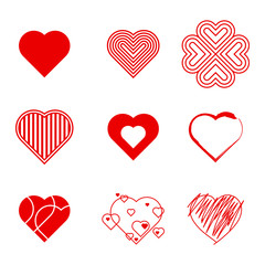 A collection of nine different vector hearts illustrated in a series of different styles.