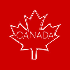 A sketchy style maple leaf with text inside that says Canada in vector format.