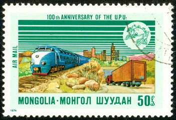 Ukraine - circa 2018: A postage stamp printed in Mongolia shows Railroad Truck. Series: U.P.U. Universal Postal Union, Centenary. Circa 1974.