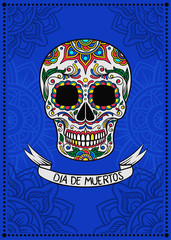 Mexican sugar skull with floral pattern, Dia de Muertos, design element for poster, greeting card vector Illustration on a electric blue background