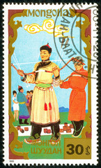 Ukraine - circa 2018: A postage stamp printed in Mongolia shows Archery, Traditional Mongolian sport. Series: Sports. Circa 1988.