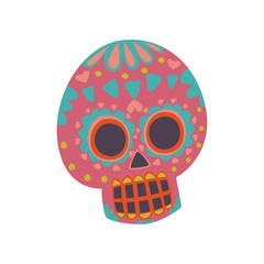 Mexican sugar skull with pattern, Dia de Muertos cartoon vector Illustration