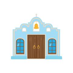 Mexican blue house, Mexico city facade cartoon vector Illustration