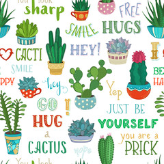 Vector seamless pattern of cacti and hand-written lettering.