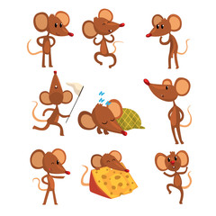 Set of cartoon mouse character in different actions. Running with sweep-net, sleeping, eating cheese, jumping, winking eye. Little brown rodent. Flat vector design