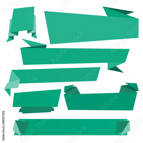 Set of origami banners and ribbons. Folded paper background template ...