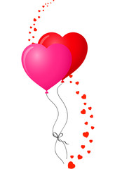 red and pink balloons with hearts wave decor element