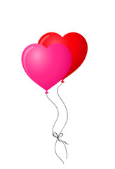 red and pink pair of realistic heart shaped helium balloons