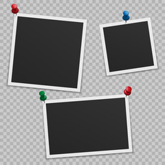 Set of blank photo frames with shadow, with buttons.