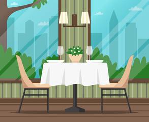 Interior of empty cafe, restaurant. Flat design. Vector illustration.
