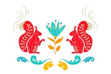 National folk ornament. Russian Boretskaya painting. Decorative elements squirrel, plants and flower ornament background. Background painting. North-Dvina painting. Postcard.