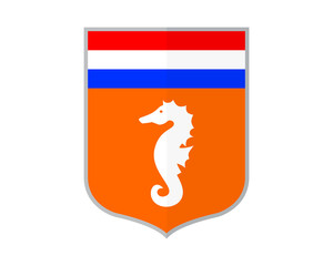 orange dutch netherlands shield seahorses nautical marine life