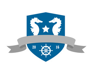 blue emblem seahorses nautical marine life