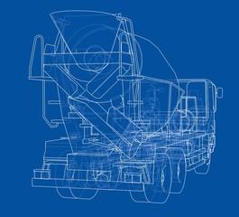 Truck mixer sketch. Vector