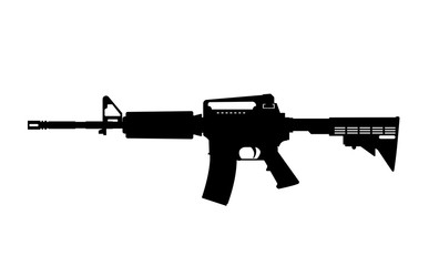 Black silhouette of machine gun on white background. Weapons of police and army
