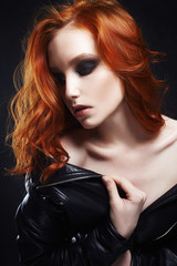red hair girl with make-up