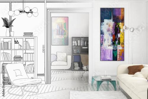 Apartment Einrichtung projekt einer apartment einrichtung zeichnung stockfotos und