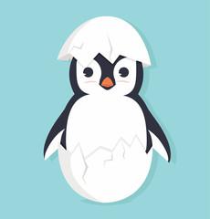 Cute penguin in egg