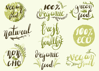 Natural organic labels. Organic food stickers and elements.Hand-lettering