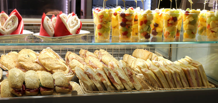 bar with lots of sandwiches for sale