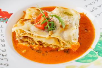 tasty lasagna with sauce
