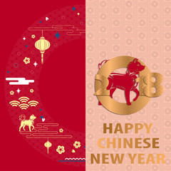 Happy Chinese New Year background. Vector illustration.