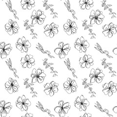 Anemone flowers floral vector seamless pattern. Hand drawn flowers and twigs