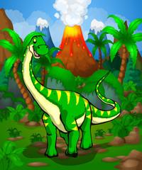 Cute cartoon Diplodocus. Vector illustration of a cartoon dinosaur.