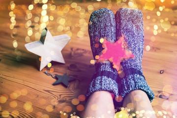Füße zu hause Fußboden Lichter Bokeh
