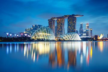 Singapore city skyline at dusk, Singapore