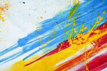 White canvas with red blue and yellow brush strokes. Texture or background