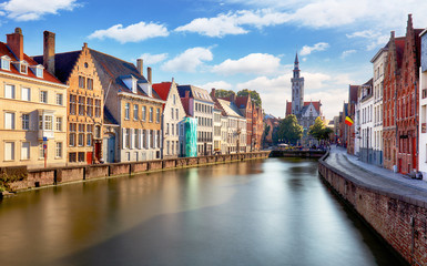 Canals of Bruges, Belgium at sunset