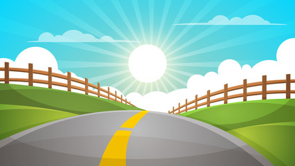 Cartoon hill landscape. Road, travel illustration, fence Vector eps 10
