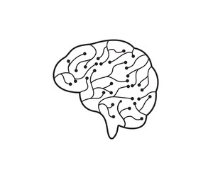 Circuit Brain vector illustration icon